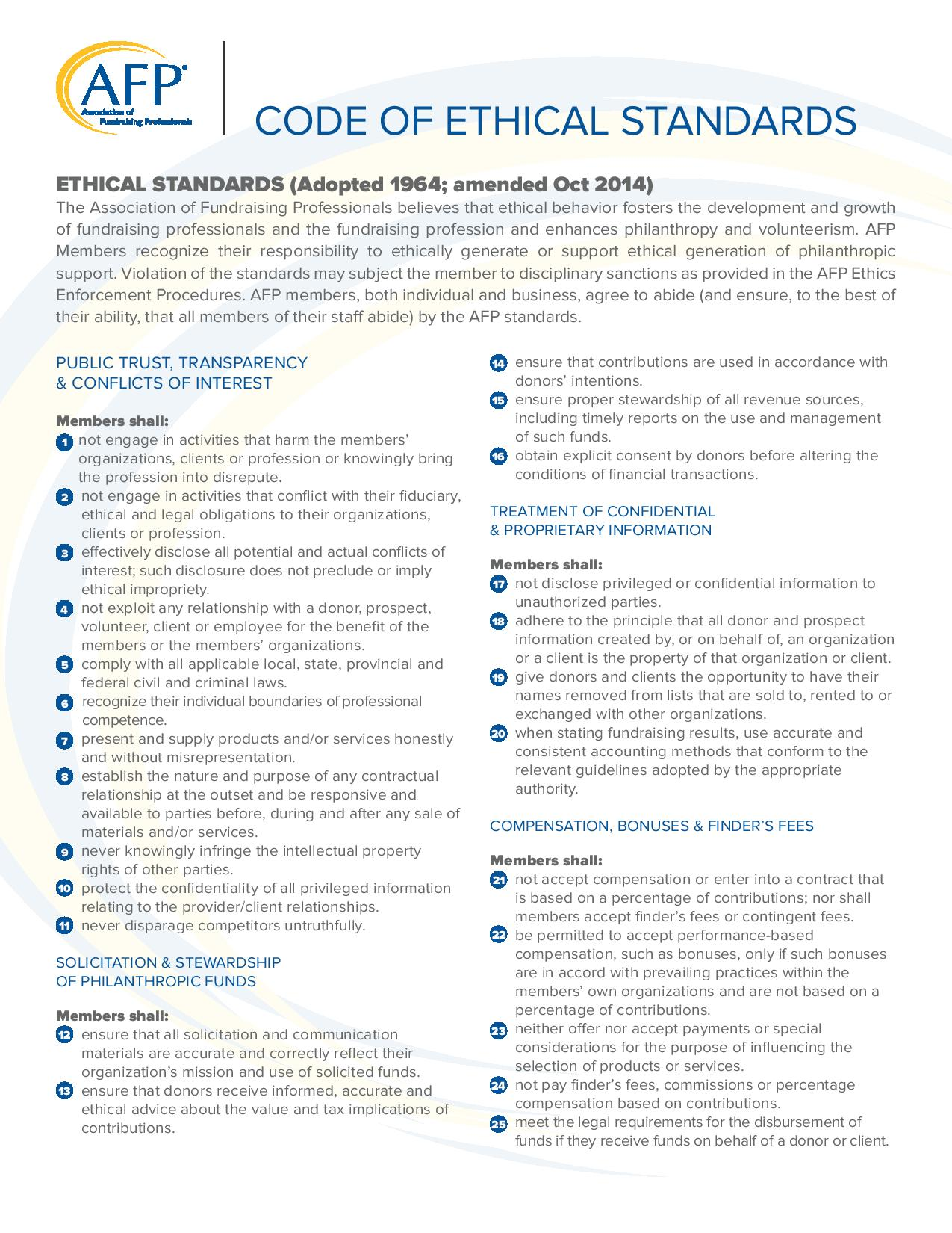 ethical standards and codes Nspe code of ethics for engineers download:  as members of this profession, engineers are expected to exhibit the highest standards of honesty and integrity .